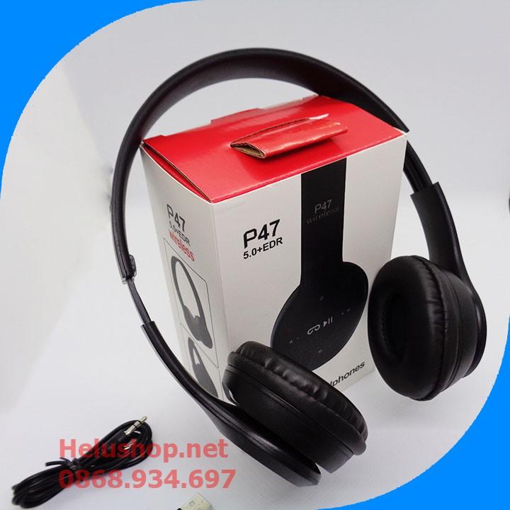Tai nghe Bluetooth không dây chụp tai cao cấp có khe thẻ nhớ Bluetooth P47  Có mic,khe cắm thẻ nhớ,FM