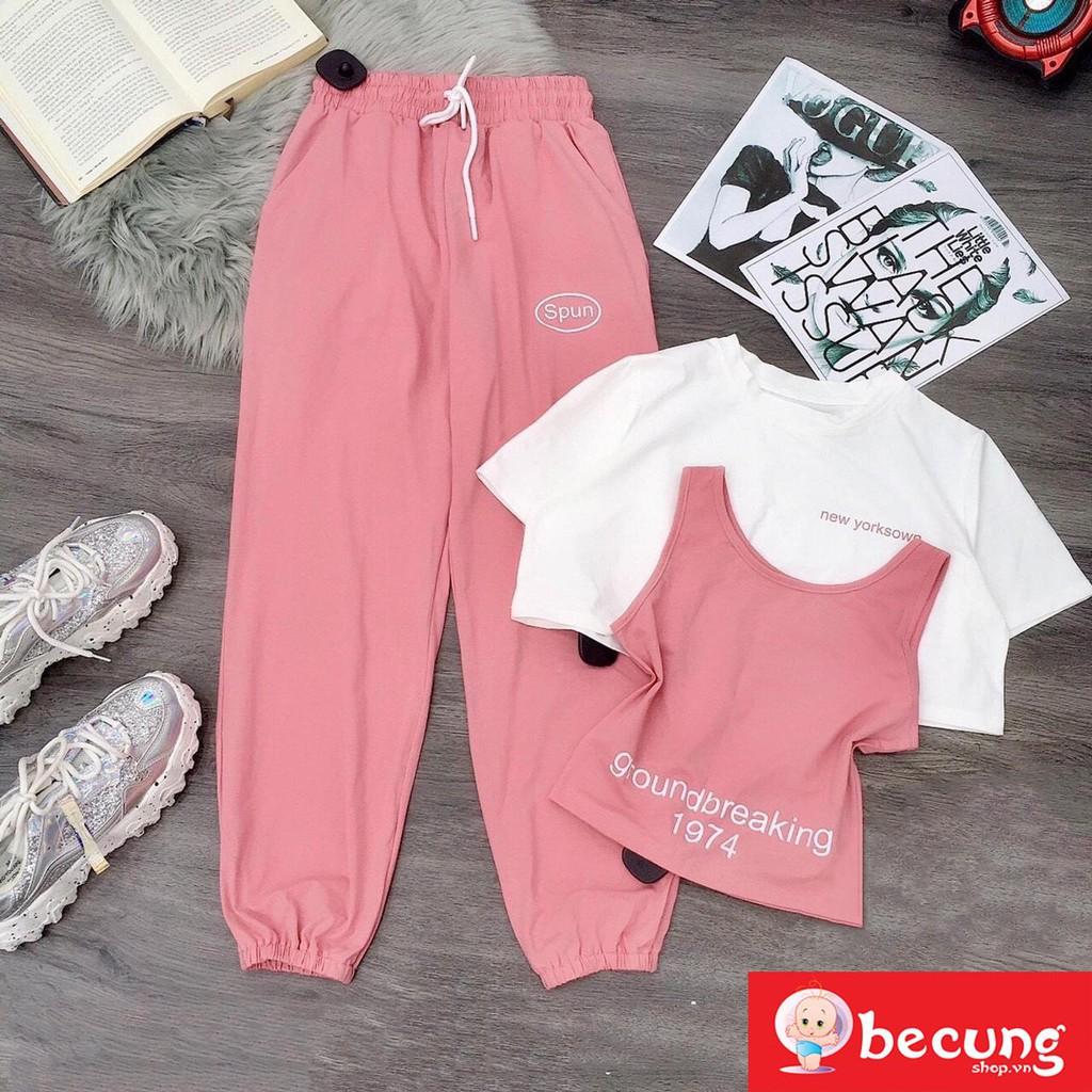 Mặc gì đẹp: Thoải mái với Sét đồ thể thao 3 chi tiết phối quần jogger cho bé gái từ 6-15 tuổi