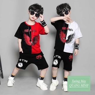 Bộ quần áo trẻ em cho bé trai 1-5 tuổi in hình Angel siêu ngầu, chất liệu tốt thoáng mát