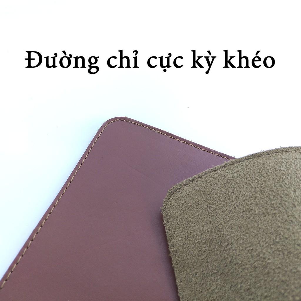 Lót chuột Bụi Leather-da bò 2 lớp, khâu viền 4 cạnh P104-Phát màu ngẫu nhiên