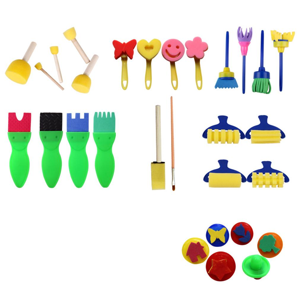 Children's Manual DIY 29PCS/Set Drawing Set Imagination Developing Sponge Brush Early Education Interesting Graffiti