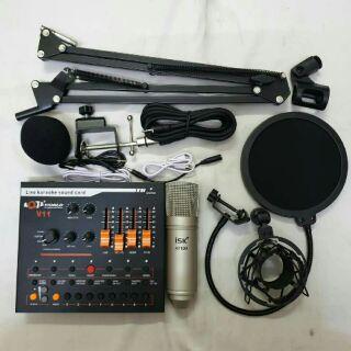 Combo bộ thu âm và hát livestream mic AT-100 + sound card V11 + Full phụ kiện