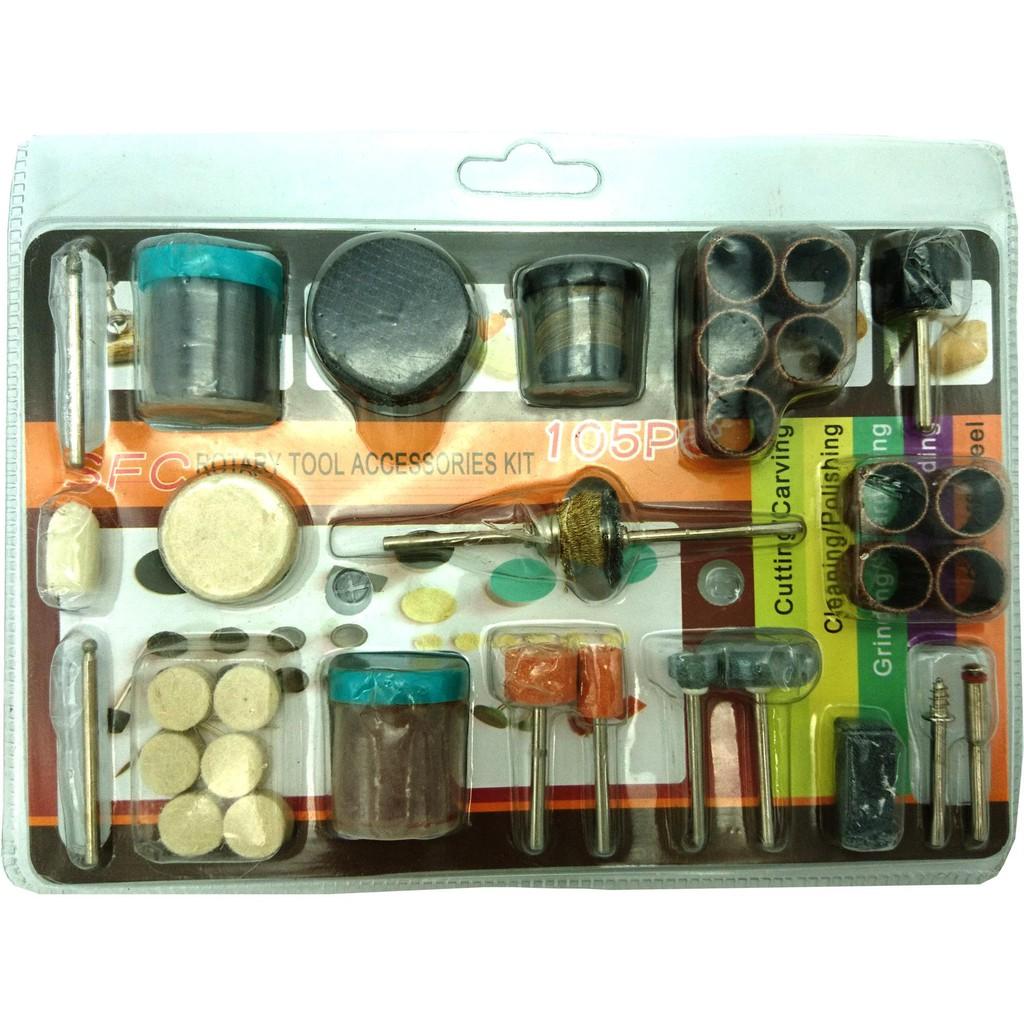 Bộ 105 món đồ nghề phụ kiện cắt, mài, chà, đánh rỉ sét, đánh bóng cho khoan điện đa năng mini cầm ta