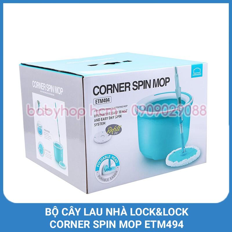 Bộ Cây Lau Nhà Xoay Tay Lock&Lock Corner Spin Mop Etm494 [Xanh Dương]