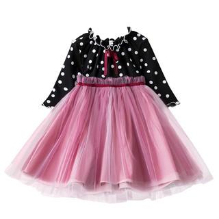 NNJXD Đầm xòe công chúa tay dài họa tiết chấm bi dành cho bé gái