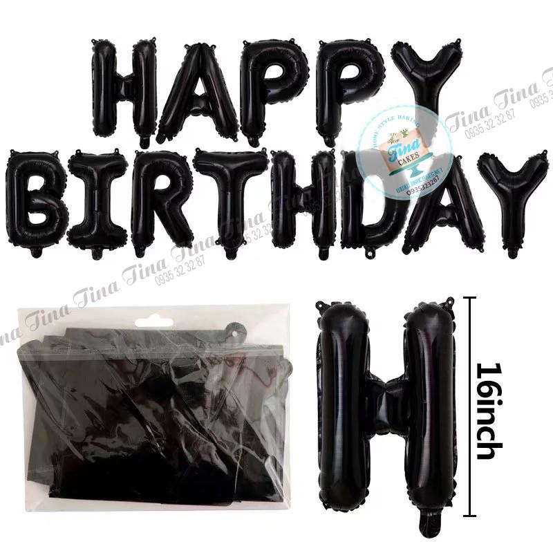 Set bóng Happy Birthday TRƠN 12 màu – bóng tráng nhôm sinh nhật – bong bóng kiếng – bong bóng bạc chữ Happy Birthday