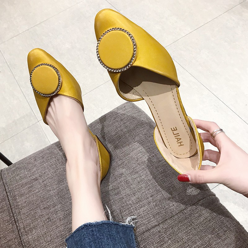 Single shoes female fairy wind 2019 spring new wild pointed flat flat shallow mouth casual one foot female shoes