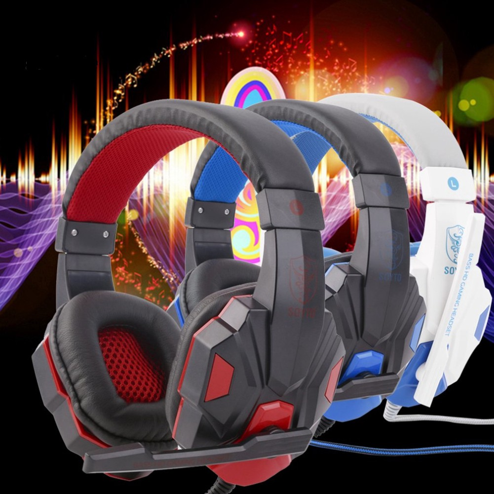 J_Adjustable 3.5mm Surround Stereo Gaming Headset Headphone with Mic for PC