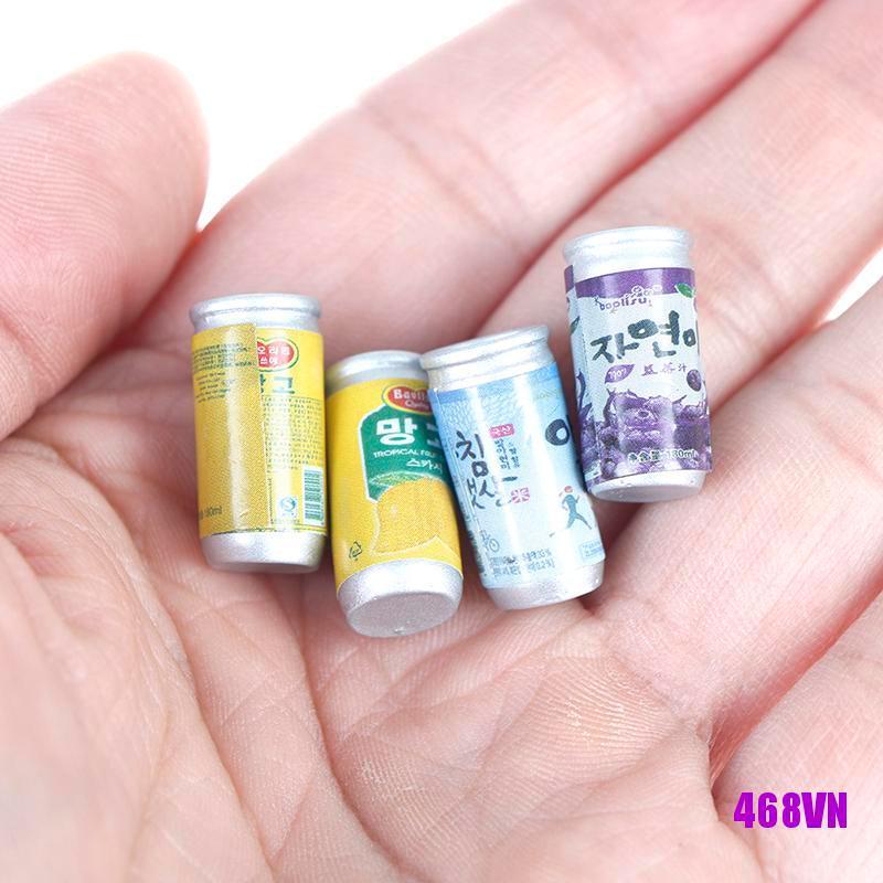 [DOU]4Pcs 1:12 Dollhouse miniature drink cans fou doll house kitchen decorate