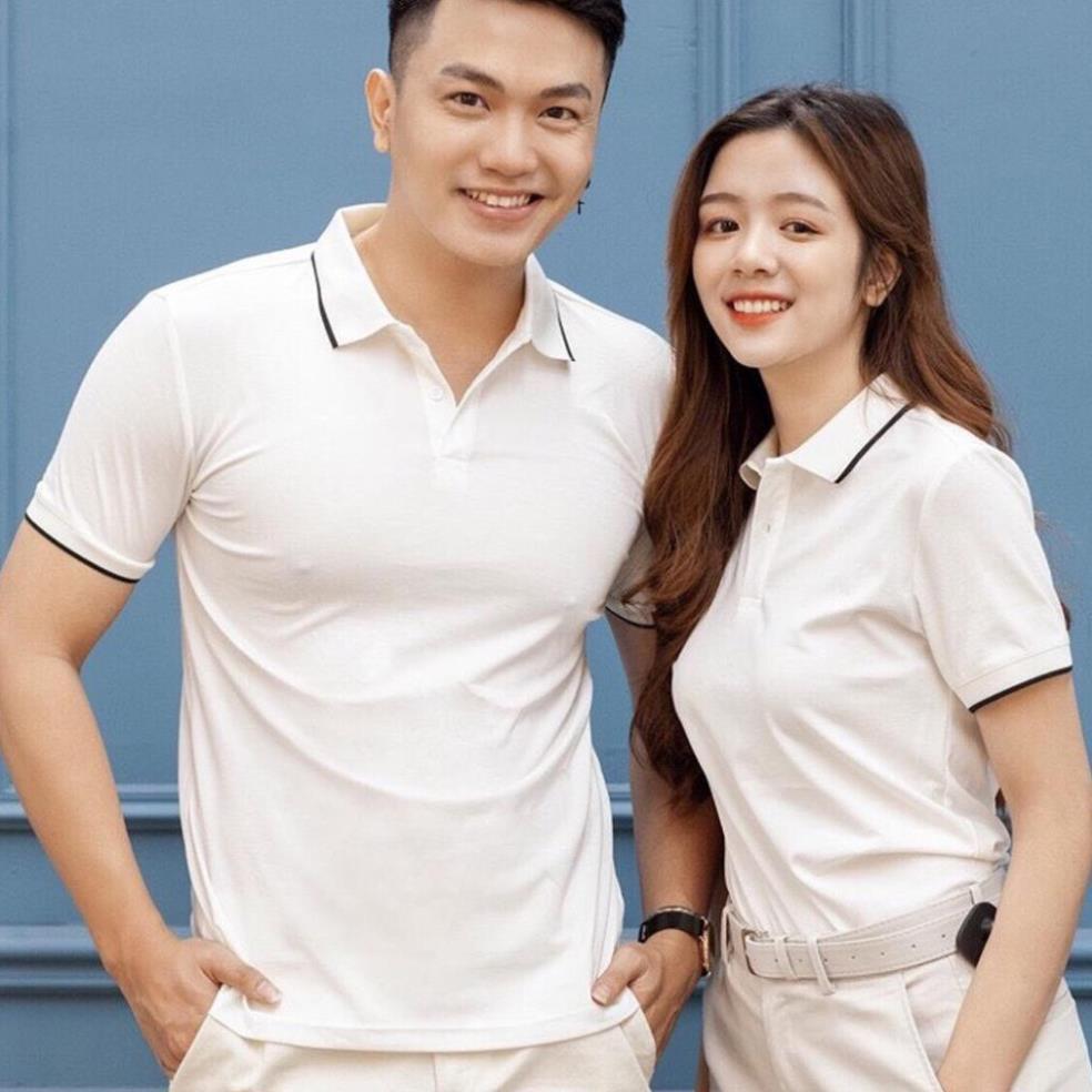 Áo Polo nam nữ unisex có cổ đẹp Hamino basic ngắn tay chất vải thun cotton co giãn cao cấp màu trắng đen E2