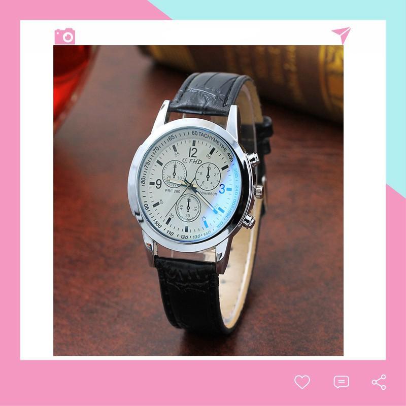 Đồng hồ nam dây da thời trang phong cách Hàn Quốc CFHD DH101