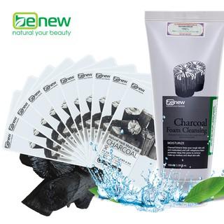 Combo 10 miếng đắp mặt nạ Than hoạt tính Benew - Sữa rửa mặt tinh chất Than Hoạt Tính