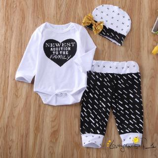 ♛loveyourself1♛-3PC Boys Girls Letter Print Cotton Blend Solid Color Long Sleeve Romper