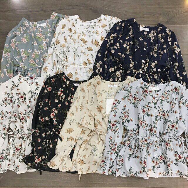 1072023480 - Combo áo hoa baby doll trắng và chân váy fb Lê nhiên