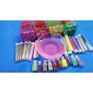 Nhũ kim tuyến màu ĐỎ làm slime ( Combo 100 gam nhũ + hộp)