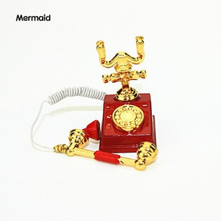 Miniature Retro Rotary Telephone Dollhouse Decoration Accessories Kid Toy