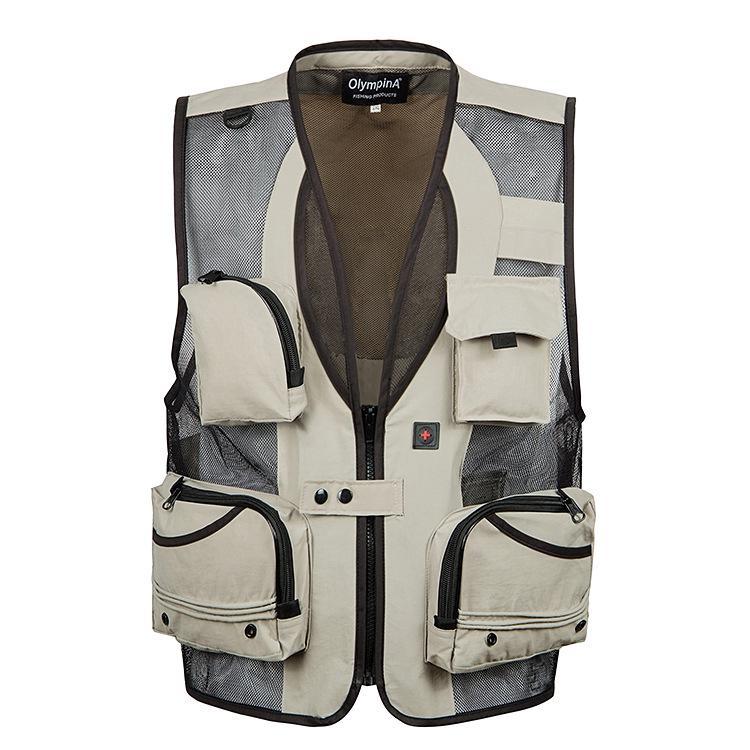 Áo khoác cộc tay thiết kế nhiều túi dùng cho hoạt động câu cá