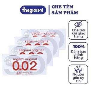 [CHE TÊN SẢN PHẨM] Bao cao su Sagami 002 bcs siêu mỏng nhiều gel bôi trơn 4 hộp 2c không mùi có che tên - thegioisoi thumbnail