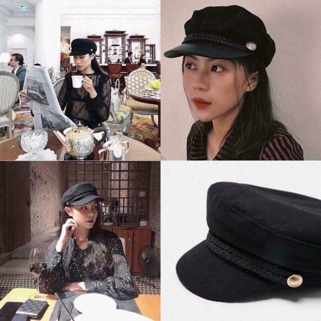 (SỈ) Mũ Baret/mũ nồi đen thời trang/mũ thuỷ thủ hàn quốc