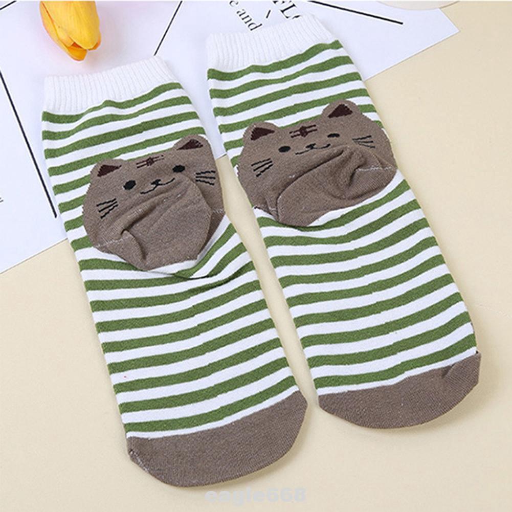 5pcs Women Socks Animal Print Cotton Mid-calf Length Adult Anti-slip Breathable Casual Cat Christmas Cute Gift Soft