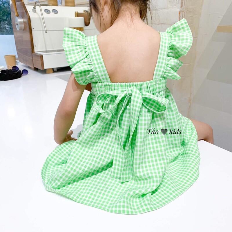 [Mã FAMAYFA giảm 10K đơn 50K] Váy Cho Bé Kẻ Caro Vai Bèo Cổ Vuông Điệu Đà