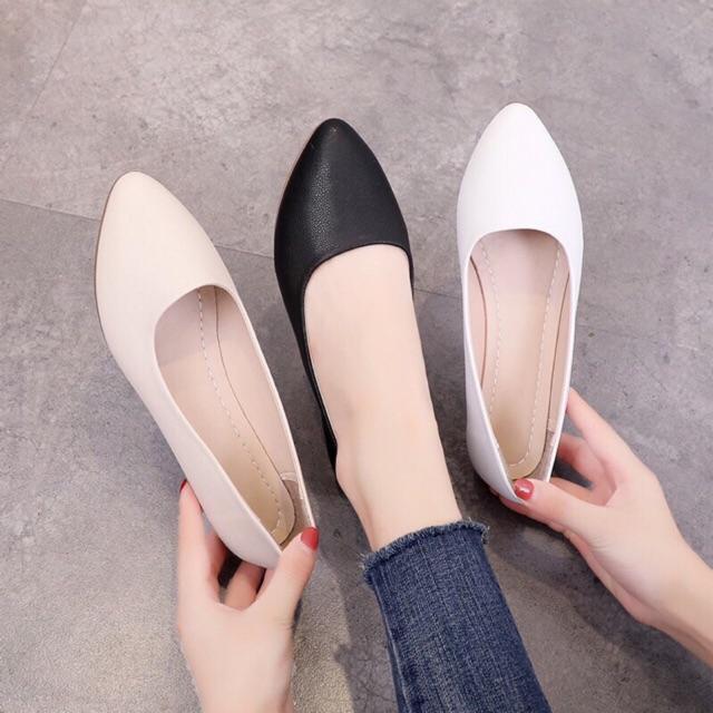 Giày búp bê trơn bệt da mềm( ảnh thật, tặng tất )