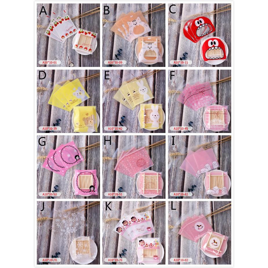 Set 100 túi nhựa khóa zip trong suốt đựng bánh kẹo họa tiết hoạt hình