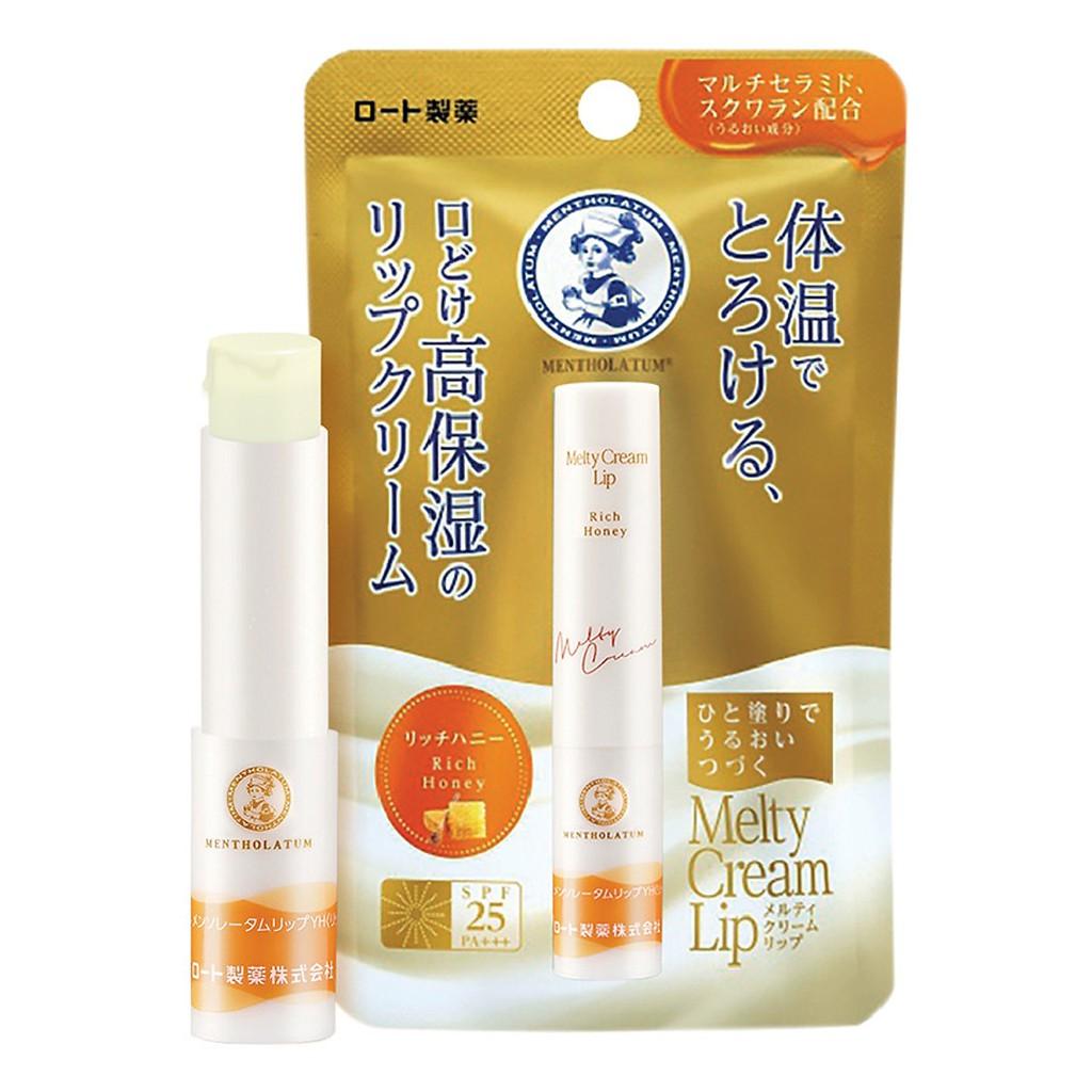 (Chính hãng Hàng nội địa Nhật) Son tan chảy dưỡng môi chống nắng Mentholatum Melty Cream Lip SPF25, PA+++ (2.4g)