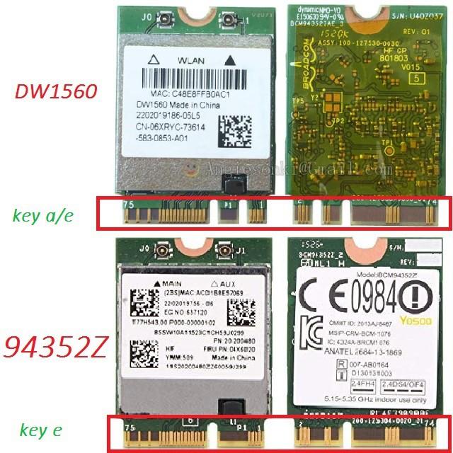 Card wifi cho laptop Hackintosh BCM94352Z - DW1560 và BCM94350ZAE - DW1820A  ( NGFF - Chuẩn M 2 key E)