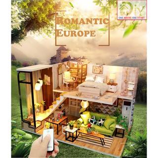 Mô hình nhà búp bê DIY ROMANTIC EUROPE có nội thất & đèn LED (kèm Dụng cụ Keo + MICA + REMOTE) – Quà tặng tự làm bằng gỗ
