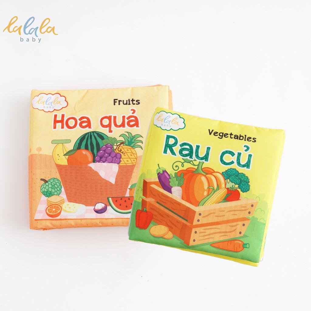 Combo 2 cuốn sách vải Lalala baby, kích thích đa giác quan, kích thước 15x15cm 12 trang (rau củ, hoa quả)