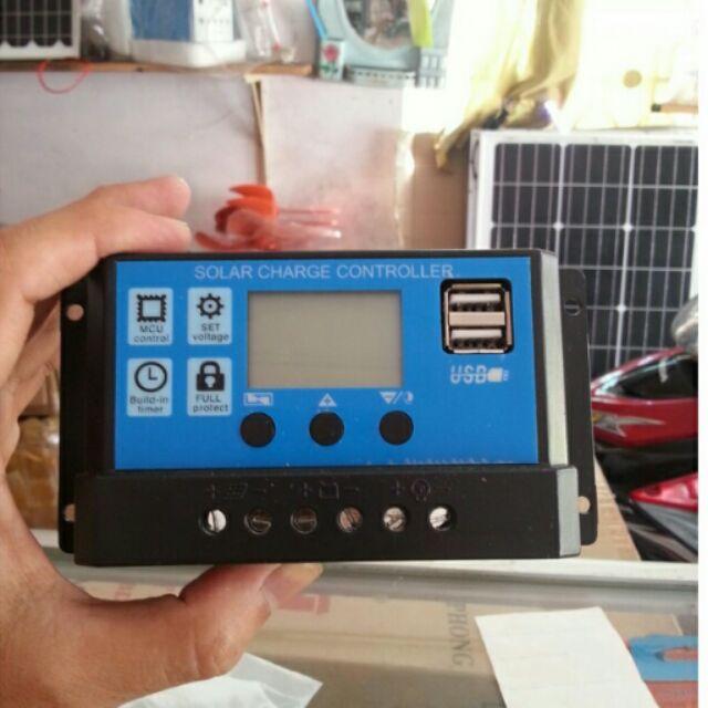 Điều Khiển Sạc Năng Lượng Mặt Trời 30A, hiển thị LCD, có cổng USB sạc điện thoại, 3 nút chỉnh linh h