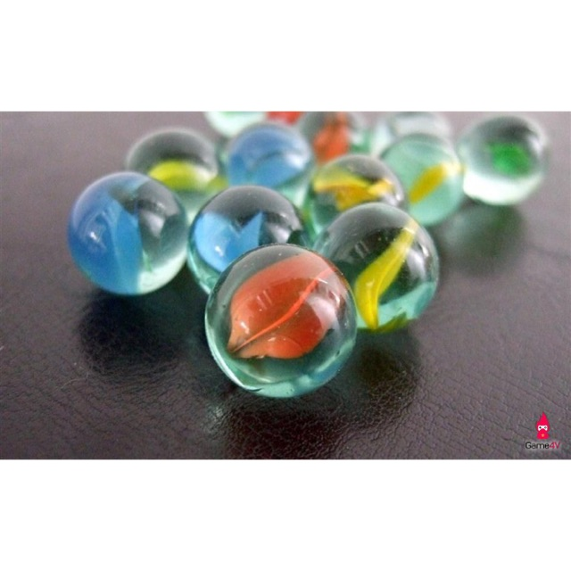 Bộ 200 viên bi ve 8 khía 7 màu size 1.4cm bằng thuỷ tinh sáng