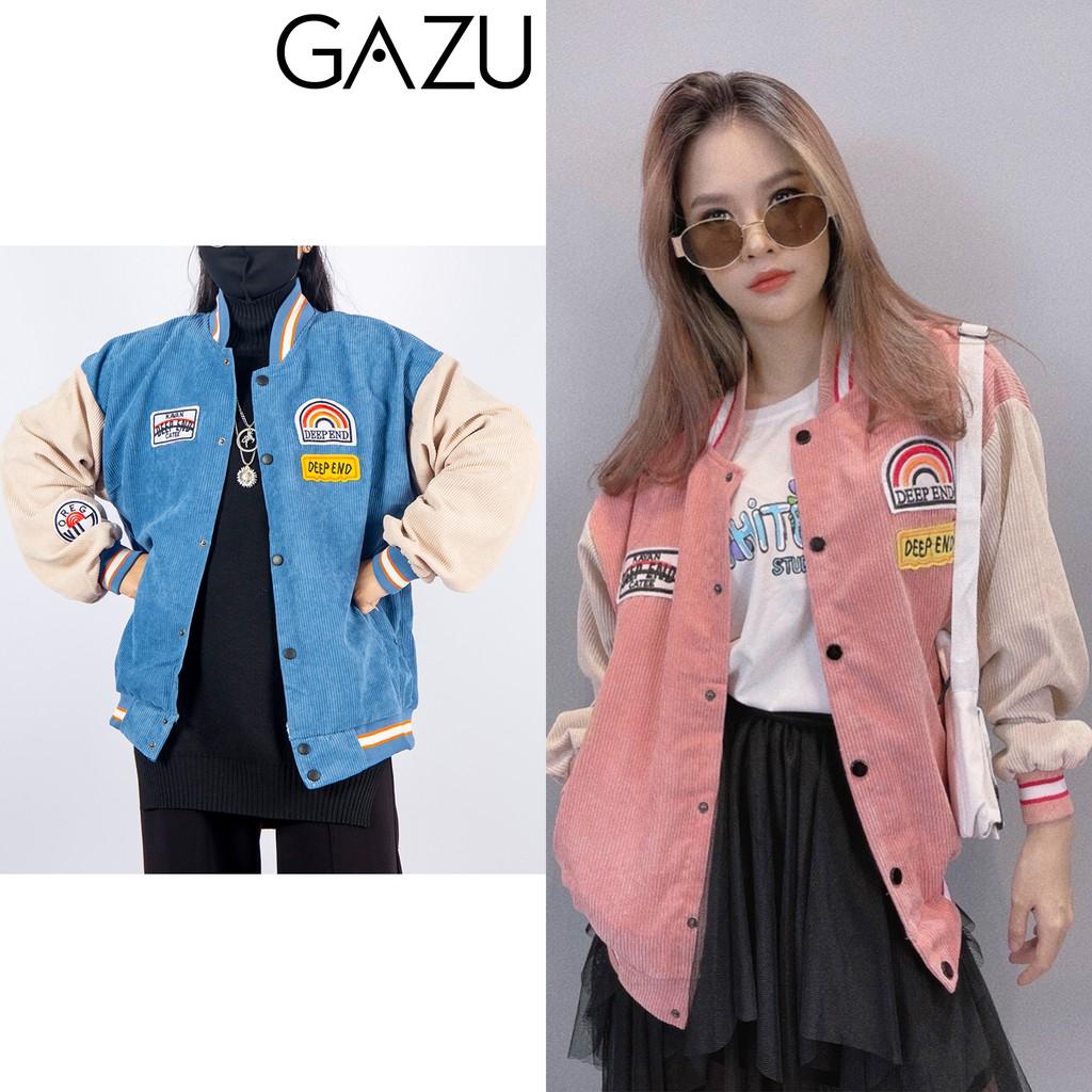Áo khoác nữ bomber nhung tăm varsity jacket unisex nam nữ form rộng GAZU -057
