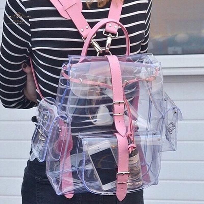 Women Backpack Transparent Girl Clear Plastic Student Shoulder Bag School Sports Pink Backpack