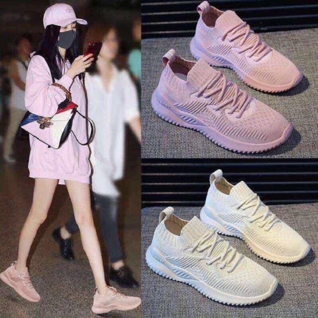 Giày sneaker nữ cổ chun cao cấp,Vải dệt thoáng khí,Đế cao su cao 4cm bền đẹp_3 màu hồng, trắng, đen mã SP03