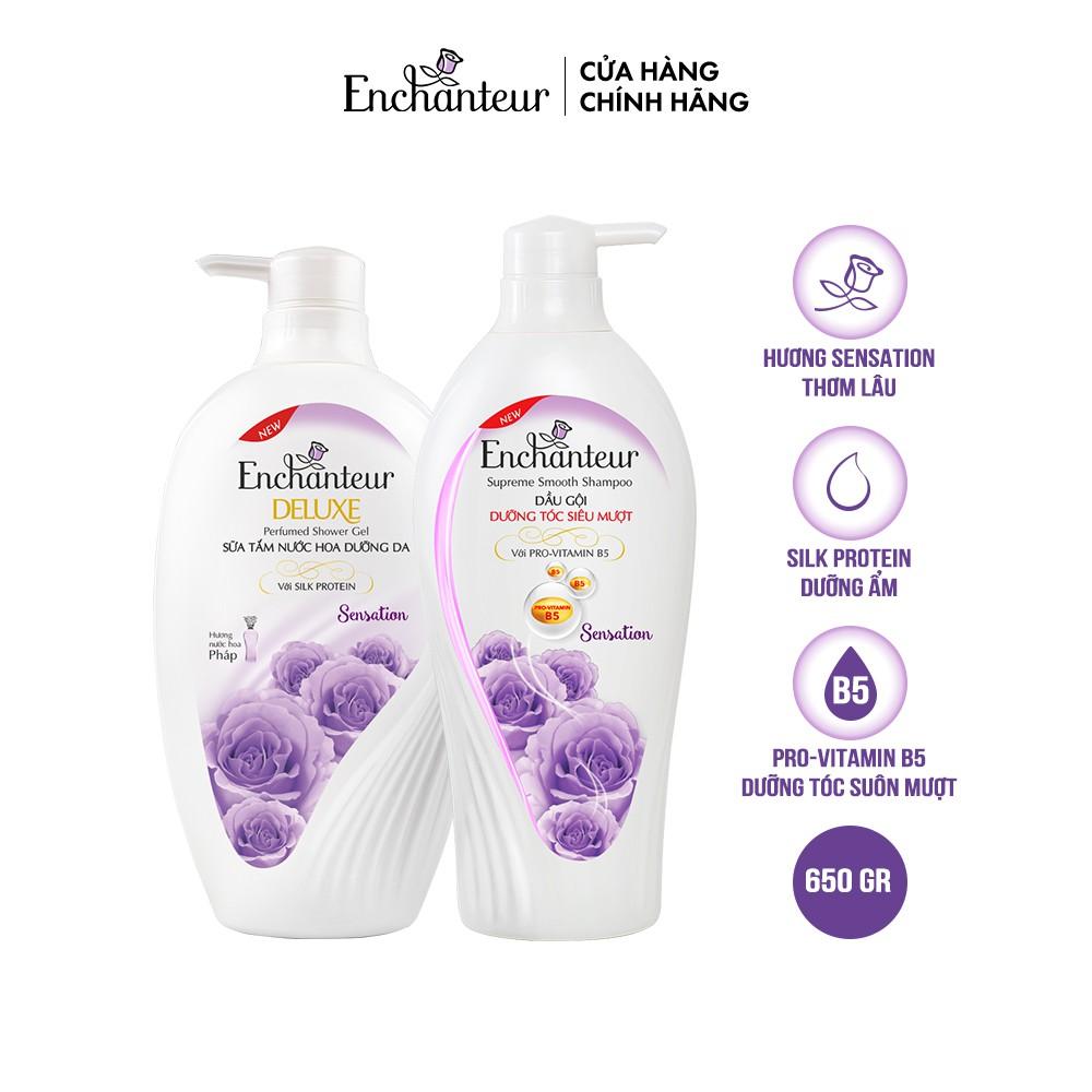 Combo Dầu Gội và Sữa tắm nước hoa Enchanteur Sensation 650g/Chai