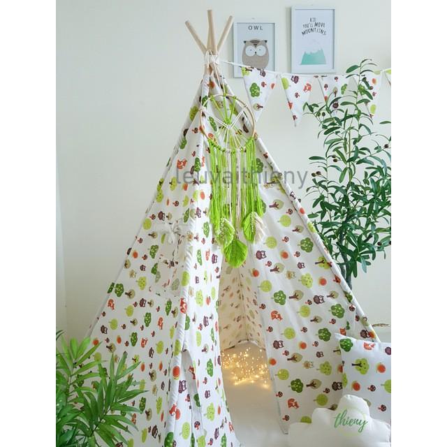 Lều vải cọc gỗ cho bé, vải canvas hình chim cú, gỗ tự nhiên