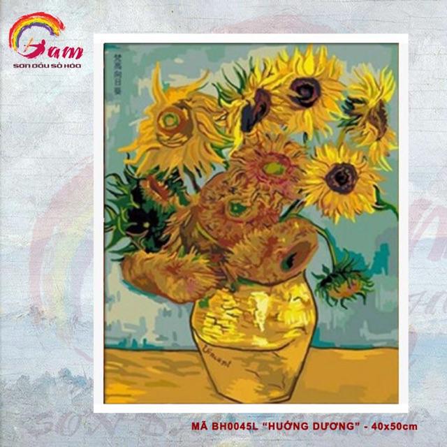 Tranh sơn dầu số hoá DIY tự vẽ - Mã BH0045L - Hướng Dương -40x50cm