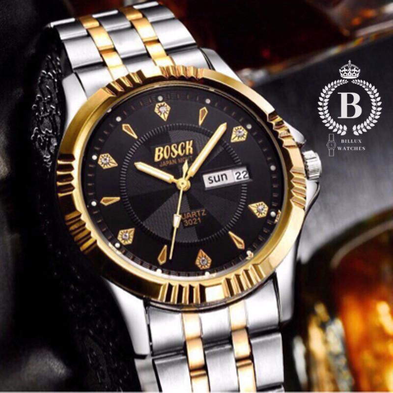 Đồng hồ Nam BOSCK 3021 [Billux] dây kim loại - 40mm (Trắng Đen)