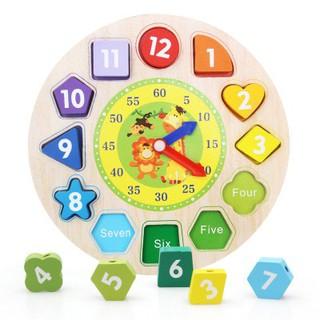 Đồ chơi gỗ – đồng hồ số hình khối luồn hạt