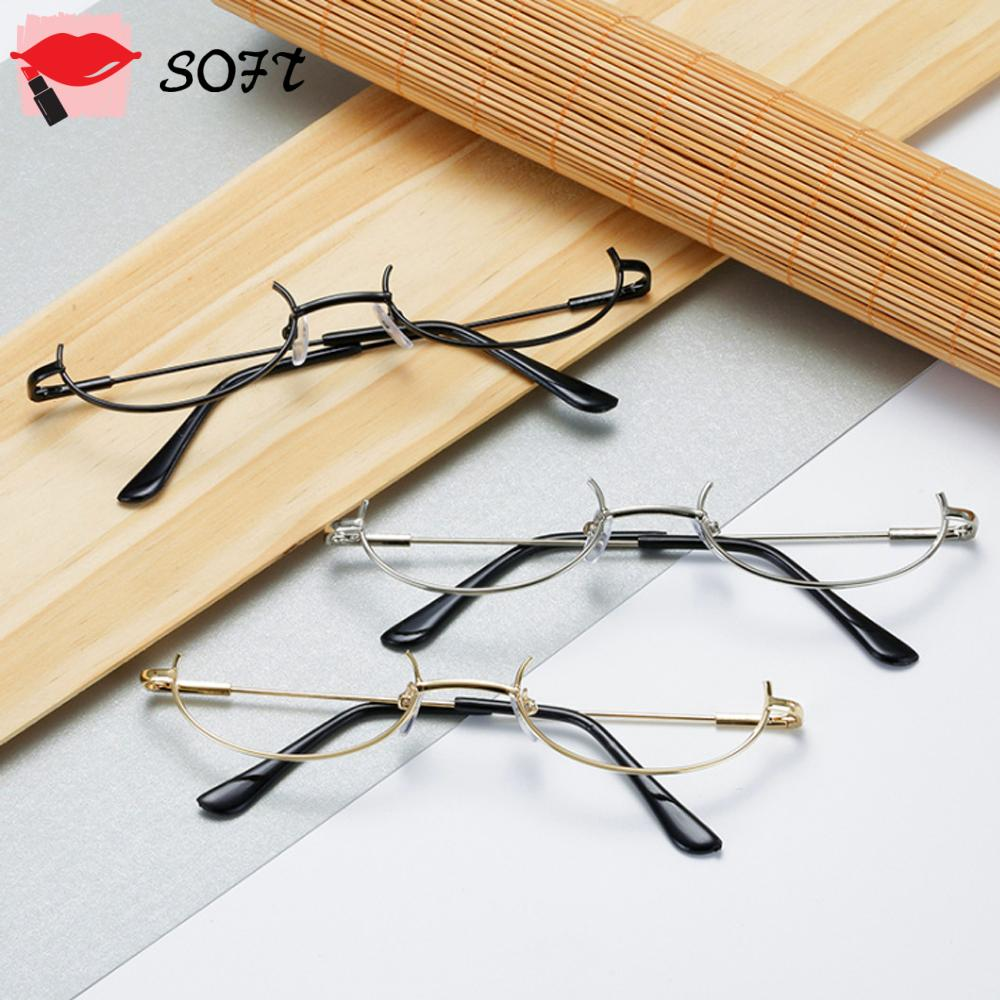 SOFTNESS Fashion Decoration Eyewear Cosplay Party Half Frames Glasses Frame Myopia Metal No Lens Unisex Photography Eyeglasses/Multicolor