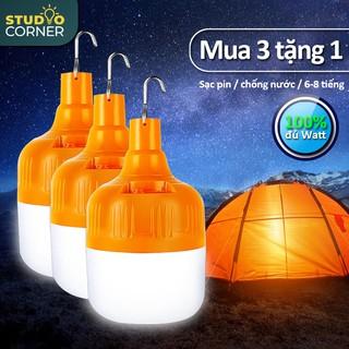 【MUA 3 TẶNG 1】Bóng đèn LED sạc tích điện, pin ánh sáng trắng, có móc treo kèm theo, chống thấm nước HL146