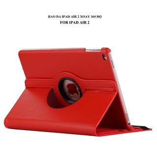 [Đẹp] Bao da IPad Air 2 iPad 6 xoay 360 độ (ĐỎ) – Hàng nhập khẩu – TẶNG KÈM BÚT CẢM ỨNG [Đẹp]