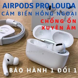 [BH 1 đổi 1] Tai nghe Bluetooth Airpods Pro – Louda Hồng Ngoại – Tặng Ốp 🎧