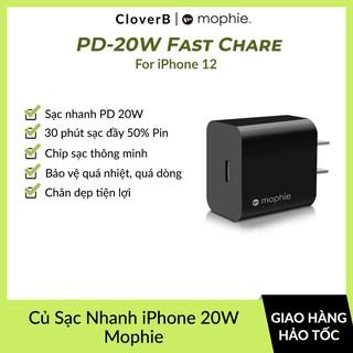 Cốc Sạc Nhanh PD 20W Mophie Power Delivery 1 Cổng USB-C, Dùng Cho iPhone 12 Promax, iPad, Chip Sạc Thông Minh An Toàn