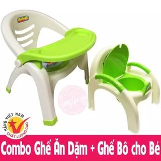 Combo Ghế Ăn Dặm + Ghế Bô Việt Nhật cho bé, Bộ gồm 1 ghế tập ăn dặm và 1 ghế bô đi vệ sinh