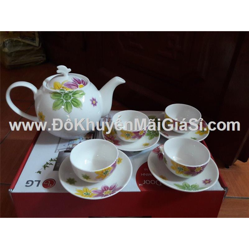 Bộ bình trà gốm sứ vẽ tay cao cấp Dong Hwa Hàn Quốc - LG tặng.