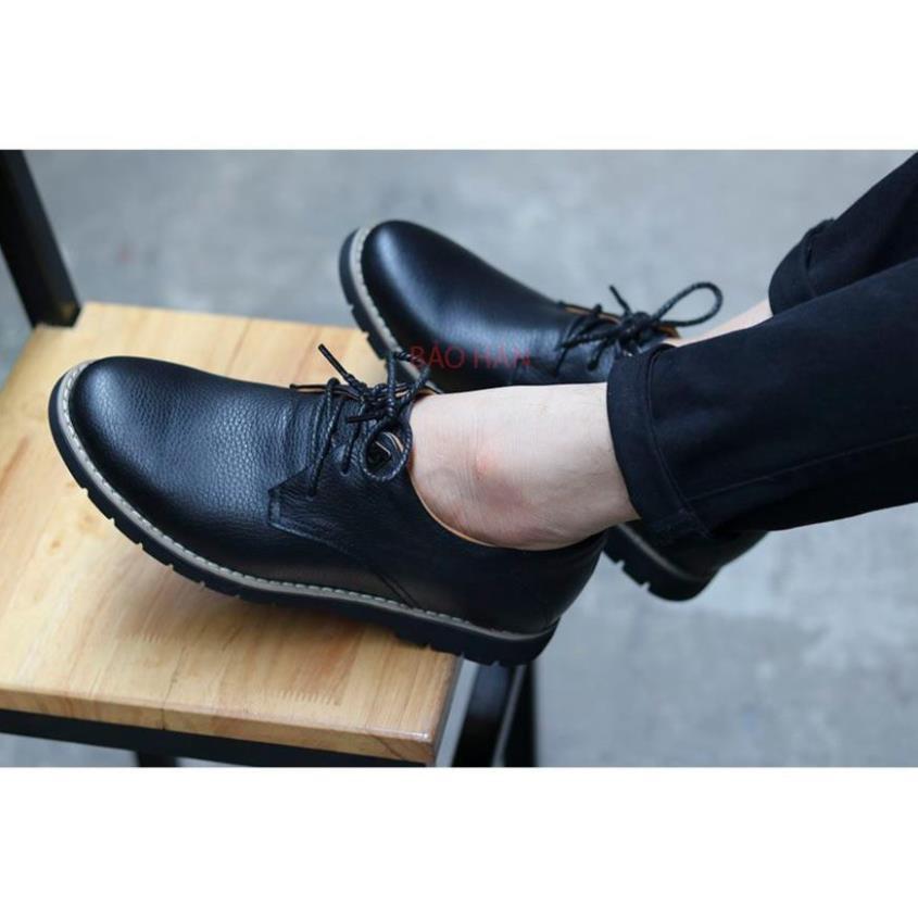 [Sale 3/3]Giày tây nam da bò  trơn đen, trẻ đẹp phong cách lịch lãm -pi9