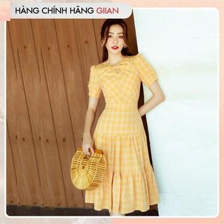 Giian - Váy kẻ vàng dáng xòe đuôi cá, Đầm dài kẻ vàng chất thô đũi mát, mị - Glenda Dress - thiết kế chính hãng - V2258 thumbnail